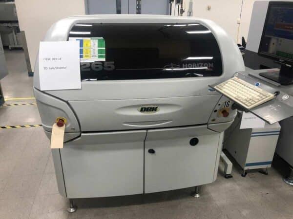 Front facing photo of a 2000 DEK 265 Horizon Screen Printer available for sale.